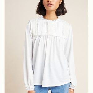 NWT Anthropologie Mara Embroidered Lace Top